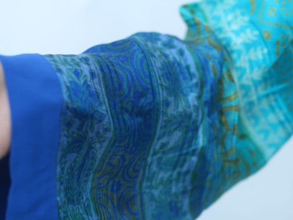 Silk Blue Chunri Embroidered Kurta